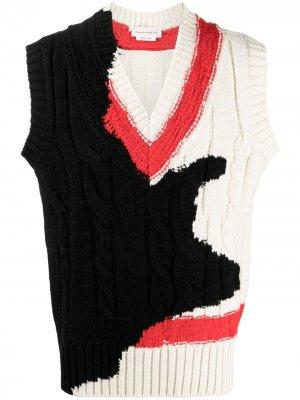 Жилет вязки интарсия с V-образным вырезом Alexander McQueen. Цвет: нейтральные цвета