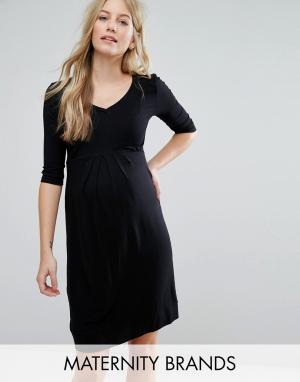 Короткое приталенное платье со складками спереди Isabella Oliver. Цвет: черный