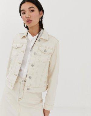 Джинсовая куртка с контрастной строчкой Femme-Белый Selected