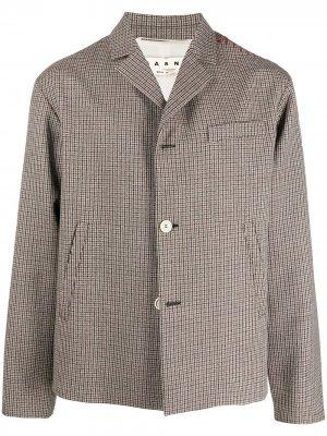 Пиджак в ломаную клетку Marni. Цвет: коричневый
