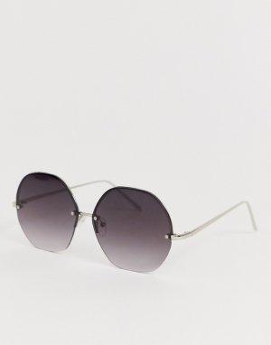 Круглые солнцезащитные очки без оправы AJ Morgan. Цвет: серебряный