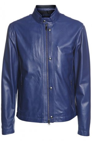 Куртка кожаная Z Zegna. Цвет: синий