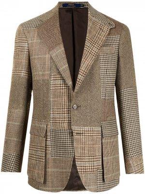 Твидовый пиджак RL67 в технике пэчворк Polo Ralph Lauren. Цвет: коричневый