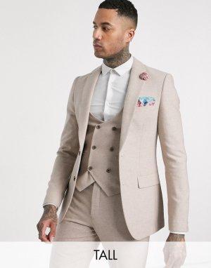 Твидовый пиджак узкого кроя Tall wedding-Бежевый Harry Brown