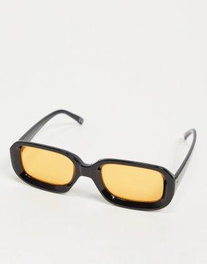 Квадратные солнцезащитные очки с линзами янтарного цвета -Черный ASOS DESIGN
