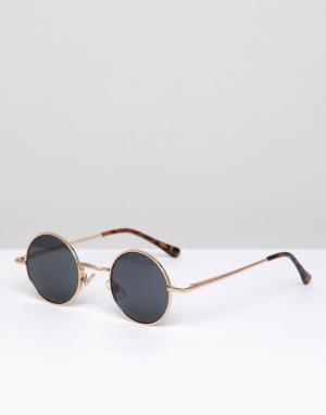 Круглые солнцезащитные очки в золотистой оправе River Island. Цвет: золотой