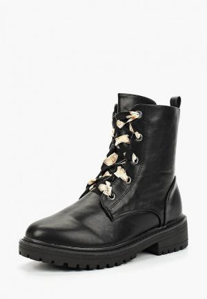 Ботинки Lost Ink JANET PRINTED LACES UTILITY BOOT. Цвет: черный