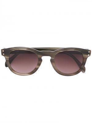 Солнцезащитные очки в круглой оправе Eleventy. Цвет: зелёный
