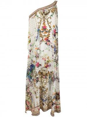 Платье-кафтан на одно плечо с цветочным принтом Camilla. Цвет: разноцветный