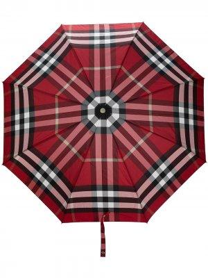 Зонт в клетку Burberry. Цвет: красный