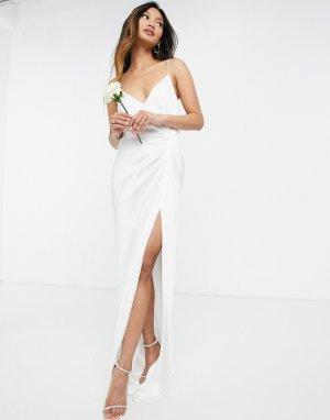 Атласное свадебное платье на бретелях с драпировкой Rosanna-Белый ASOS EDITION