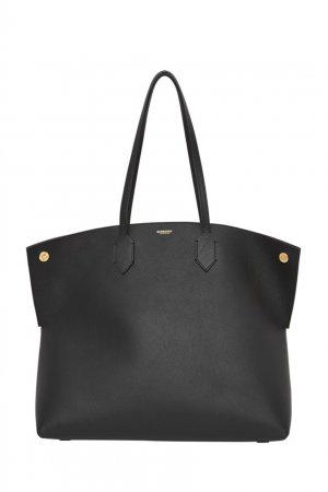 Большая сумка-тоут из черной кожи Society Burberry. Цвет: черный