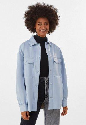 Куртка кожаная Bershka. Цвет: голубой