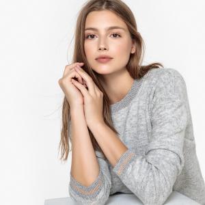 Пуловер с круглым вырезом MELLE SUD EXPRESS. Цвет: жемчужный