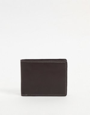 Кожаный кошелек темно-коричневого цвета с контрастной строчкой -Коричневый цвет ASOS DESIGN