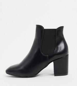 Черные полусапожки челси на каблуке -Черный Simply Be