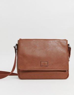 Светло-коричневый портфель из искусственной кожи с клапаном River Island