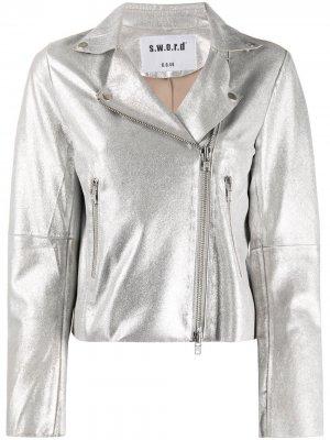 Байкерская куртка с эффектом металлик S.W.O.R.D 6.6.44. Цвет: серебристый