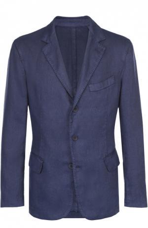 Льняной приталенный пиджак 120% Lino. Цвет: темно-синий
