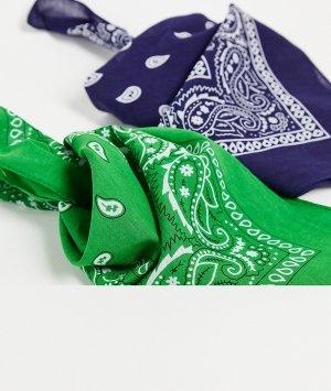 Набор из 2 эксклюзивных бандан темно-синего и зеленого цвета DesignB-Multi DesignB London