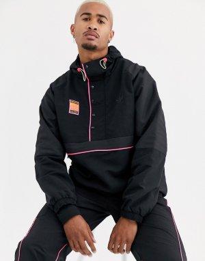 Черная куртка на молнии с капюшоном -Черный adidas Originals