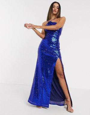 Синее платье макси на одно плечо с пайетками -Синий Goddiva