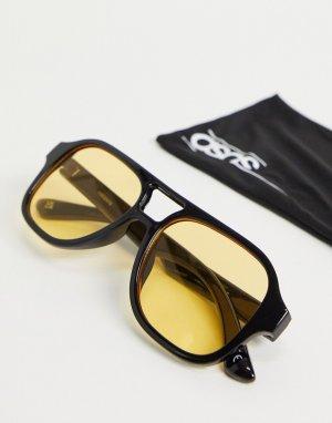 Солнцезащитные очки в черной оправе с желтыми стеклами -Черный ASOS DESIGN
