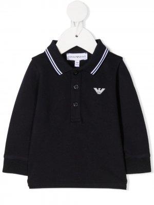 Рубашка поло с длинными рукавами Emporio Armani Kids. Цвет: синий