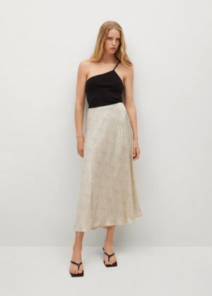 Сатиновая миди-юбка - Laura Mango. Цвет: бежевый