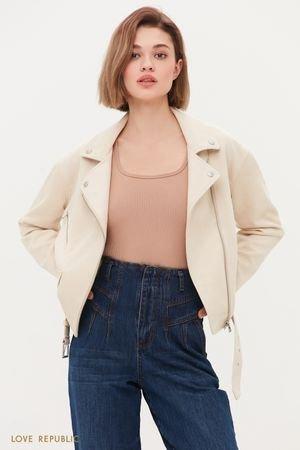 Куртка-косуха из искусственной замши молочного цвета LOVE REPUBLIC