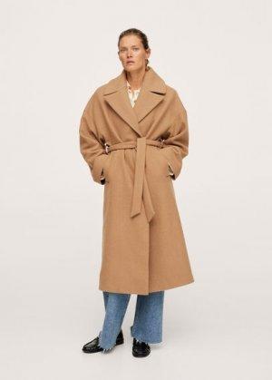 Пальто с большими лацканами, шерстью - Time Mango. Цвет: коричневый средний