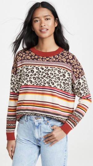 Leopard Fairisle Crew Sweater Autumn Cashmere