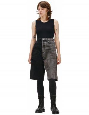 Черно-серые джинсовые шорты с вышивкой Balenciaga