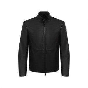 Кожаная куртка Emporio Armani. Цвет: чёрный