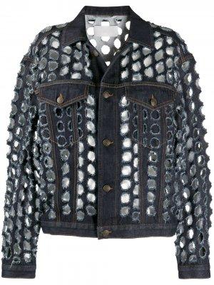 Джинсовая куртка Holey Maison Margiela. Цвет: синий