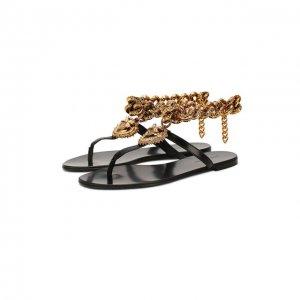 Кожаные сандалии Infradito Dolce & Gabbana. Цвет: чёрный