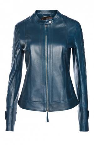 Куртка кожаная Roberto Cavalli. Цвет: синий