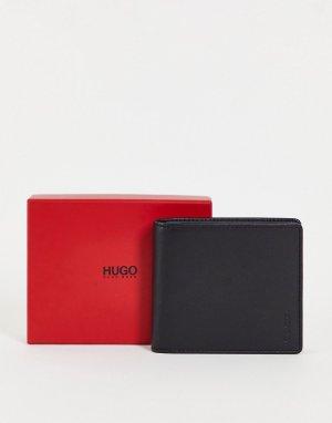 Кожаный складной бумажник черного цвета с отделением для монет Subway-Черный цвет HUGO