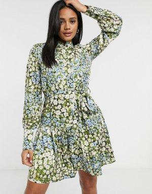 Свободное платье с цветочным принтом -Многоцветный Forever U