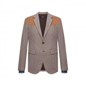 Пиджак из шерсти и вискозы Dsquared2. Цвет: разноцветный