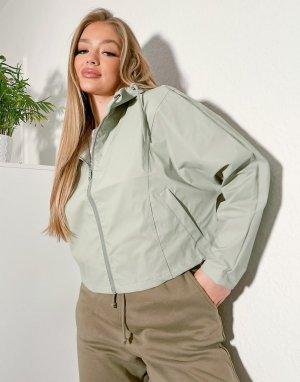 Макинтош-дождевик шалфейно-зеленого цвета с капюшоном Strad-Зеленый цвет Threadbare