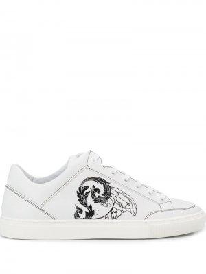 Кеды с логотипом Versace Collection. Цвет: белый
