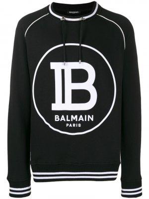 Свитер с кулиской и логотипом Balmain. Цвет: черный