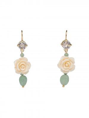 Серьги-подвески в форме цветов Prada. Цвет: зеленый