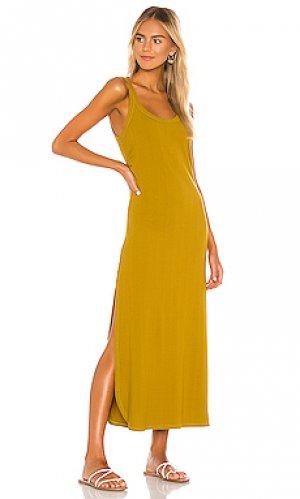 Платье миди west vitamin A. Цвет: оливковый