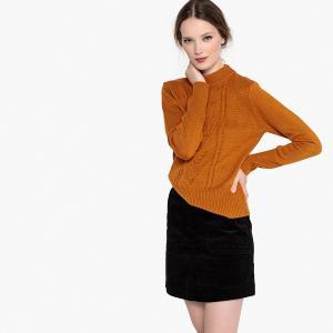 Пуловер с круглым вырезом и узором косы из шерсти LA REDOUTE COLLECTIONS. Цвет: коричневый,красный темный,синий морской,слоновая кость