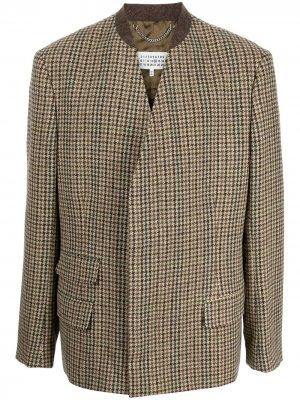 Двубортный пиджак в ломаную клетку Maison Margiela. Цвет: коричневый