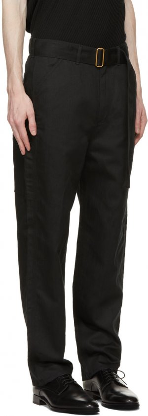 Black Linen Carpenter Trousers Dunhill. Цвет: 001 black