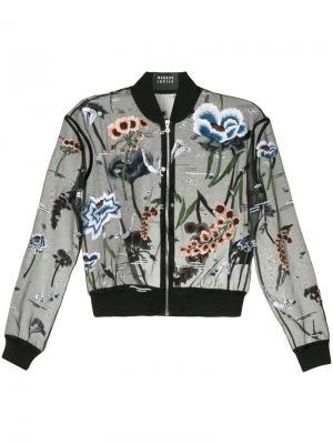 Куртка-бомбер с вышитыми цветами бусинами Markus Lupfer. Цвет: чёрный