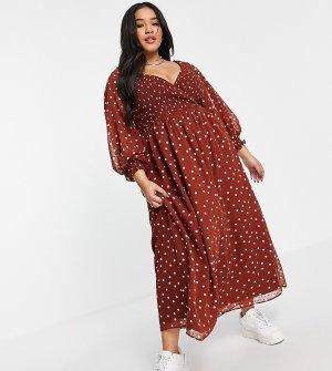 Коричневое платье макси в горошек из ткани добби с запахом и присборенной талией ASOS DESIGN Curve-Разноцветный Curve